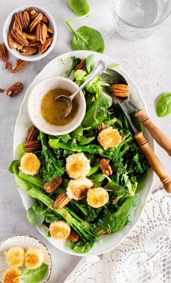 Salade met gebakken geitenkaas